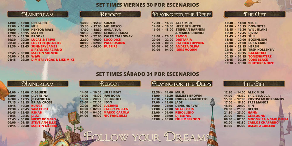 TimeTable of Daydream Festival 2018 - On Saturday was a problem with weather, so there played only a few DJs